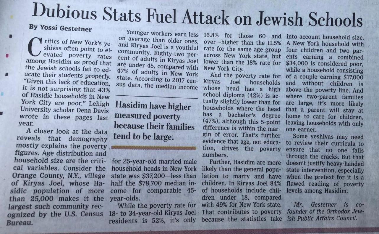 OJPAC Op-Ed in WSJ: Dubious Stats Fuel Attack on Jewish Schools